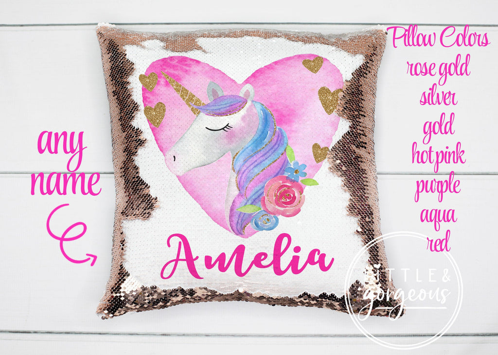 Personalized Unicorn Sequin Pillow Gift for her Girls Mermaid Pillow Girls Room Decor Pillow Personalized Sequin Pillow