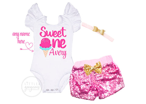 First Birthday Outfit Girl Sweet One Ice Cream Birthday Shirt Birthday Personalized Birthday Outfit Girls 1st Birthday