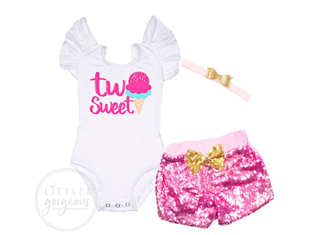 Two Sweet Second Birthday Ice Cream Outfit Girl Ice Cream Birthday Shirt Two Sweet Birthday Personalized Birthday Outfit Girls 2nd Birthday