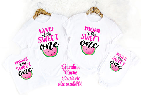 Mom and Dad Sweet One First Birthday Mom Dad Matching Birthday Shirts Watermelon Birthday Shirts Family Birthday Shirt Girls Birthday One