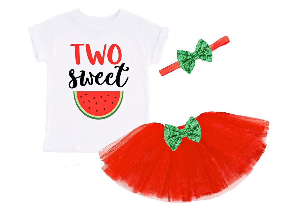 Girls Two Sweet Birthday Outfit Second Birthday Outfit Two Sweet Shirt Watermelon Birthday 2nd Birthday Two Birthday Red Green Tutu