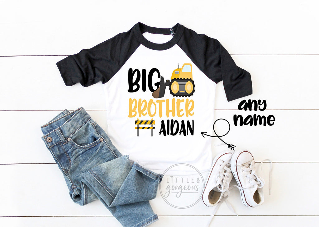 Boys Construction Birthday Big Brother Construction Shirt Boys Construction Raglan Boys Bulldozer Dump Truck Little Brother Matching Shirt