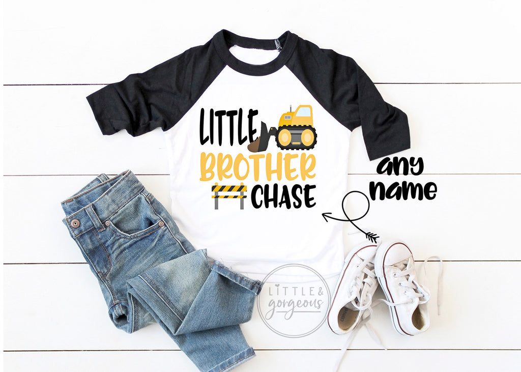 Boys Construction Birthday Little Brother Construction Shirt Boys Construction Raglan Boys Bulldozer Dump Truck Big Brother