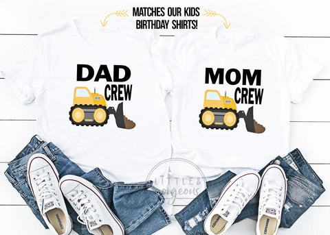 Mom and Dad of the Birthday Boy First Birthday Mom Dad Matching Birthday Shirts Bulldozer Construction Birthday Shirts Family Birthday Shirt