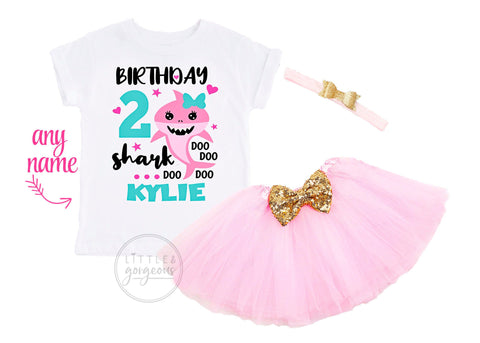 Girls Birthday Shark Second Birthday Outfit Shark 2nd Birthday Girl Baby Shark Personalized Birthday Shirt Birthday Shark Baby Girls Outfit