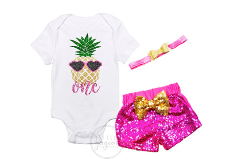 Girls First Birthday Luau Pineapple Outfit Summer Outfit Pineapple Outfit 1st Birthday Outfit Tank top Sparkle Shorts