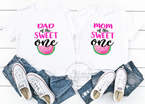 Mom and Dad of the Sweet One First Birthday Mom Dad Matching Birthday Shirts Watermelon Birthday Shirts Family Birthday Shirt Girls Birthday