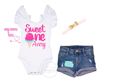 Girls First Birthday Outfit 1st Birthday Outfit Sweet One Leotard Ice Cream Birthday Baby Girl Birthday 1st Birthday Distressed Jean Shorts