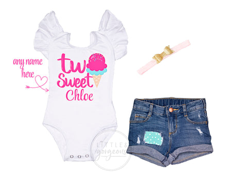 Two Sweet Second Birthday Outfit 2nd Birthday Outfit Ice Cream Birthday Leotard Baby Girl 2nd Birthday Two Birthday Rolled Hem Jean Shorts