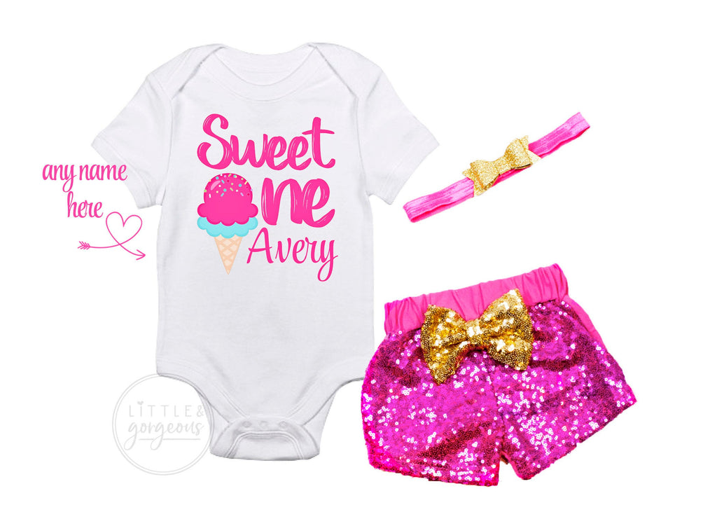 First Birthday Outfit Girl Ice Cream Sweet One Birthday Shirt Ice Cream Party Birthday Personalized Birthday Outfit Girls 1st Birthday