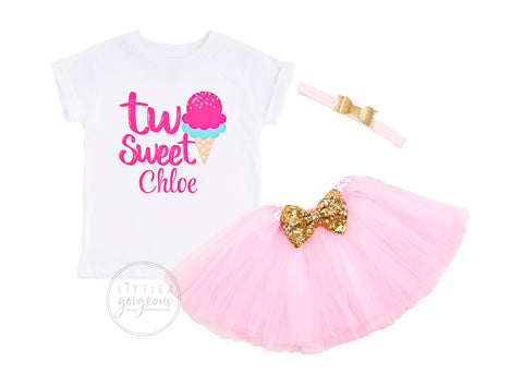 Girls Second Birthday Outfit Two Sweet 2nd Birthday Girl Baby Ice Cream Personalized Birthday Shirt Birthday Ice Cream Baby Girls Outfit