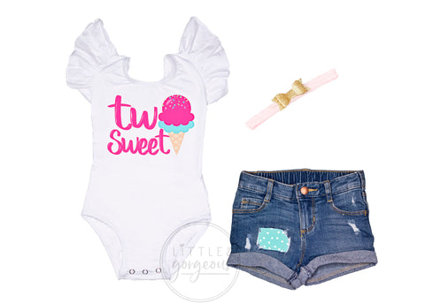 Girls Second Birthday Two Sweet Outfit 2nd Birthday Outfit Ice Cream Birthday Baby Girl 2nd Birthday Two Birthday Rolled Hem Jean Shorts