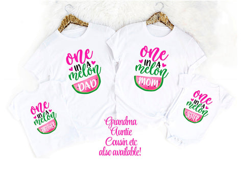 Mom and Dad One In a Melon First Birthday Mom Dad Matching Birthday Shirts Watermelon Birthday Shirts Family Birthday Shirt Girls Birthday
