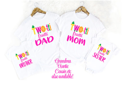 Mom and Dad Twotti Frutti Birthday Mom Dad Matching Birthday Shirts Fruit Birthday Shirts Family Birthday Shirt Girls Birthday Two Sweet