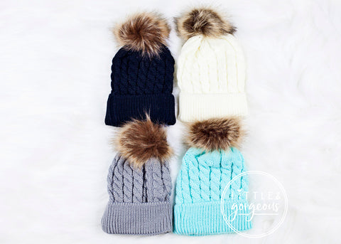 Baby Cable Knit Hat with Faux Fur Pom Pom