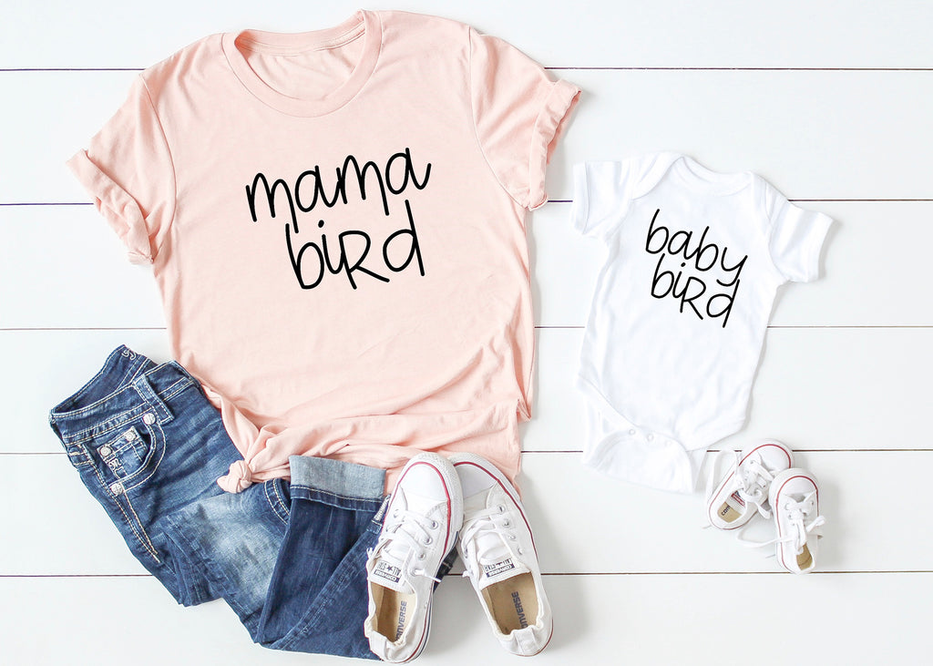 Mama Bird / Baby Bird Matching Mommy and Me Shirts