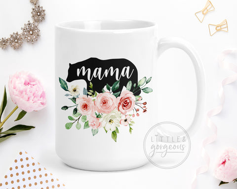 Floral Mama Bear 15 oz Mug, New Mom Gift, Funny Gift For Mom