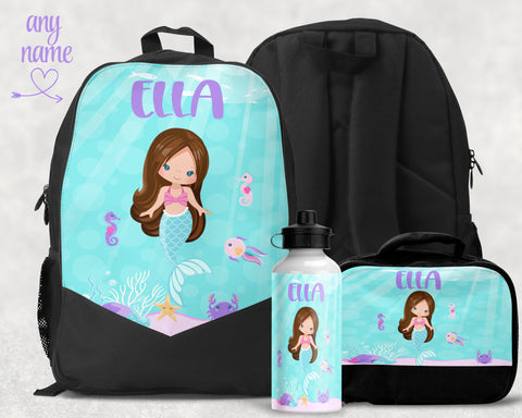 Girls Mermaid Personalized Monogram Backpack Lunchkit Water Bottle