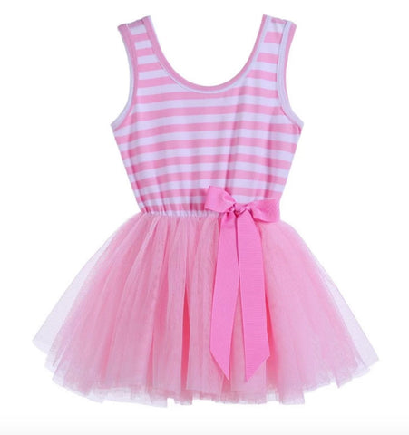 Girls Pink and White Striped Tulle Dress