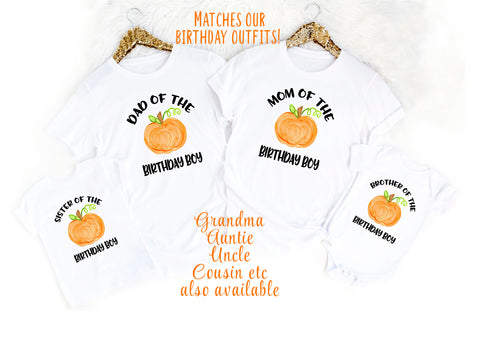 Pumpkin Birthday Family Shirts