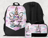 Unicorn Personalized Backpack Monogrammed Book bag Lunch Bag Water Bottle