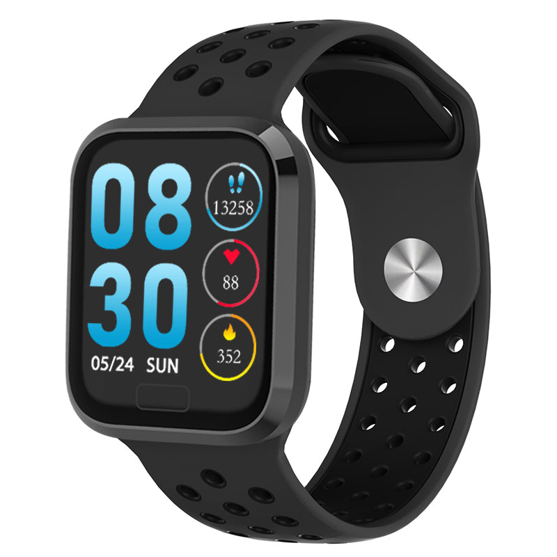 W3+ PRO Best Fitness Smart Watch with Heart Rate Monitor Blood Pressure Sensor Oxygen Saturation Calls SMS Notifications in Sports Nike-style Black Band
