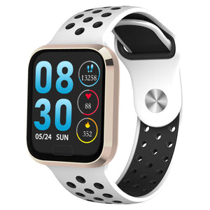 W3 Fitness Tracker Smart Watch with Heart Rate Monitor Activity Tracker in White Silicon Sports Band with gold frame