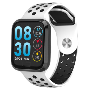 W3 Fitness Tracker Smart Watch with Heart Rate Monitor Activity Tracker in White Silicon Sports Band with Black frame