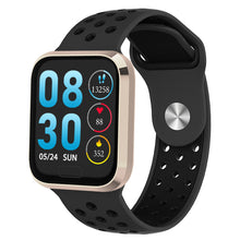 Load image into Gallery viewer, W3 Fitness Tracker Smart Watch with Heart Rate Monitor Activity Tracker in Black Silicon Sports Band with gold frame