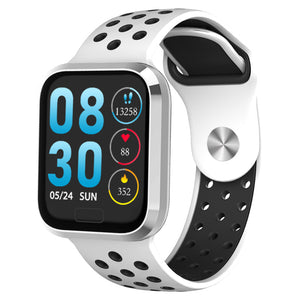W3 Fitness Tracker Smart Watch with Heart Rate Monitor Activity Tracker in White Silicon Sports Band with Silver frame