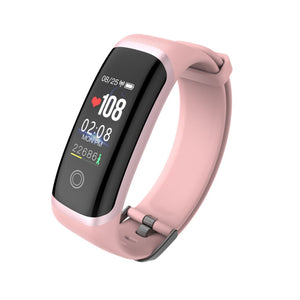 PK3 Fitness Tracker Peach Pink Bracelet with Heart Rate Monitor sensor with Rose Gold Outline