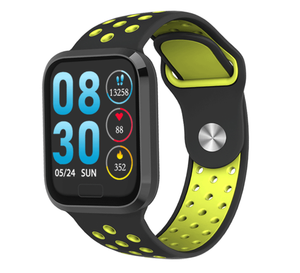 W3+ PRO Best Fitness Smart Watch with Heart Rate Monitor Blood Pressure Sensor Oxygen Saturation Calls SMS Notifications in Sports Nike-style Green Band