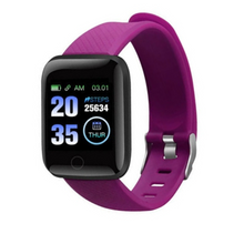 Load image into Gallery viewer, Y7 Plus Fitness Tracker Purple Smart Watch with Heart Rate Monitor Blood Pressure Saturation Fatigue % Sleep Monitor (REM Cycles) Step Tracker Pedometer with Distance Traveled, Calories Counter, Caller ID, SMS, Notifications, etc