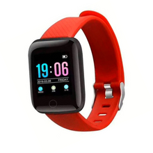 Load image into Gallery viewer, TY7 Plus Fitness Tracker Orange Smart Watch with Heart Rate Monitor Blood Pressure Saturation Fatigue % Sleep Monitor (REM Cycles) Step Tracker Pedometer with Distance Traveled, Calories Counter, Caller ID, SMS, Notifications, etc