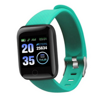 Load image into Gallery viewer, Y7 Plus Fitness Tracker Teal Smart Watch with Heart Rate Monitor Blood Pressure Saturation Fatigue % Sleep Monitor (REM Cycles) Step Tracker Pedometer with Distance Traveled, Calories Counter, Caller ID, SMS, Notifications, etc