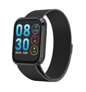 W3+ PRO Best Fitness Smart Watch with Heart Rate Monitor Blood Pressure Sensor Oxygen Saturation Calls SMS Notifications Black Metal Band