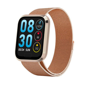W3+ PRO Best Fitness Smart Watch with Heart Rate Monitor Blood Pressure Sensor Oxygen Saturation Calls SMS Notifications Gold Metal Band
