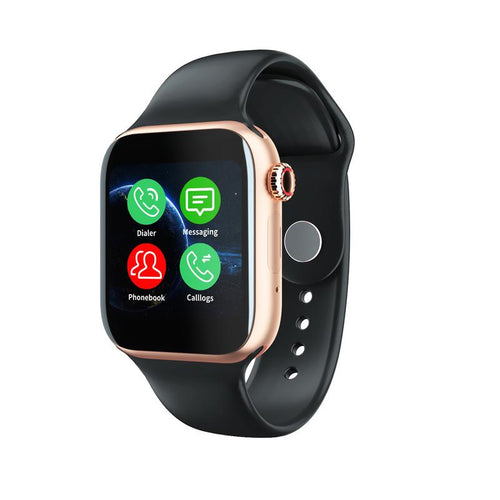 Smartwatch Universal 5 for iPhone and Android with Heart Rate Monitor Sensor Bluetooth Calls Texts etc Black and Gold