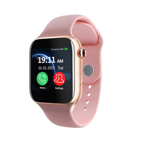 Smartwatch Universal 5 for iPhone and Android with Heart Rate Monitor Sensor Bluetooth Calls Texts etc Pink and Gold