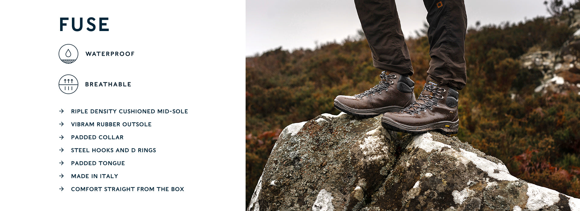 Grisport Fuse Mens Boots: Waterproof; Breathable; Triple Density Cushioned mid-sole; Vibram Rubber Outsole; Padded Collar; Steel Hooks and D Rings; Padded Tongue; Made in Italy; Comfort straight from the box