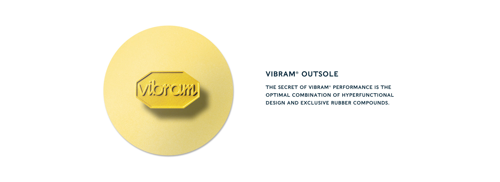 vibram® outsole The secret of Vibram® performance is the optimal combination of hyperfunctional design and exclusive rubber compounds.
