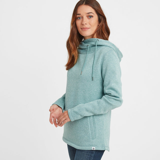 Acer Womens Knitlook Fleece Hoody - Nile Blue image 1