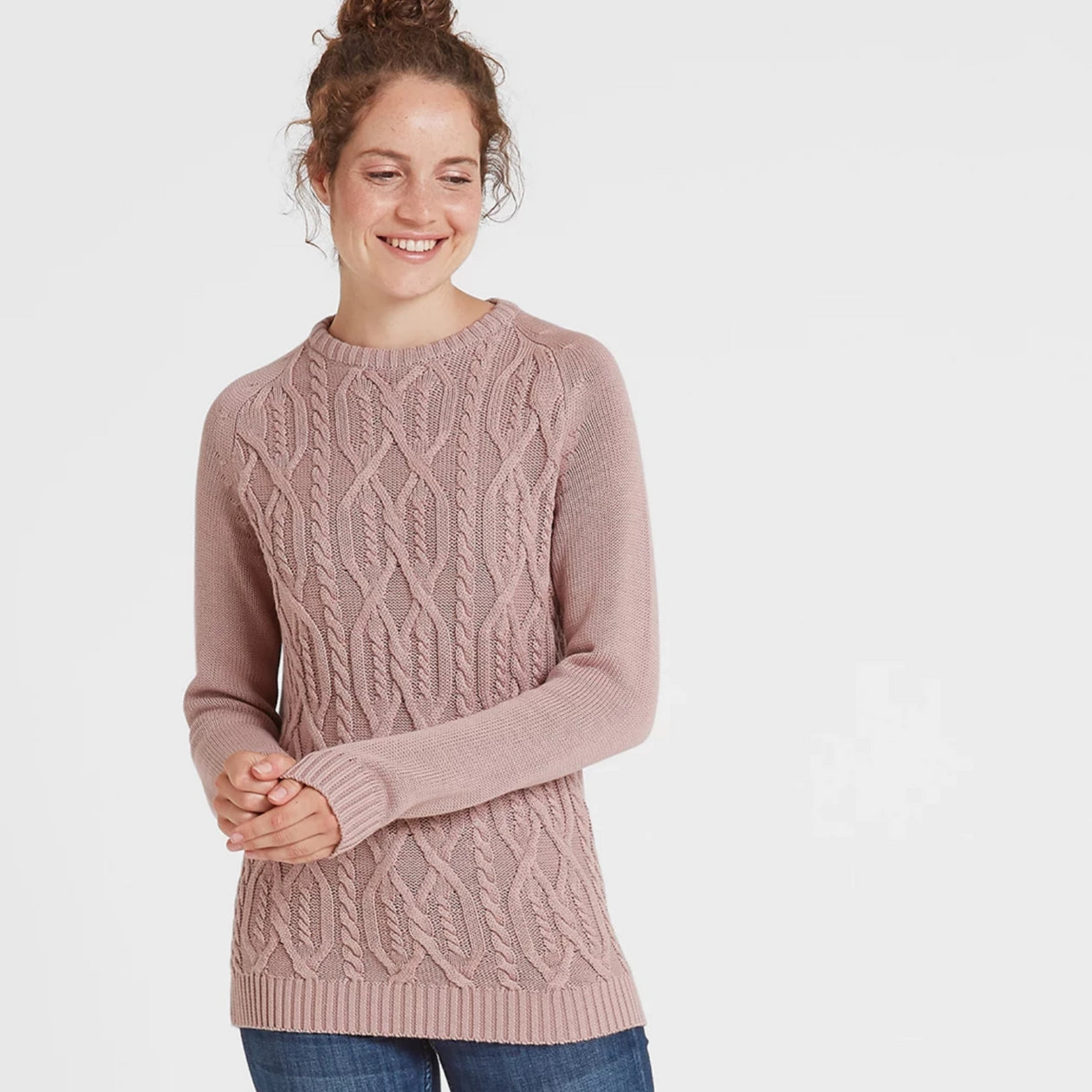 Adele Womens Cable Knit Jumper - Rose Pink image 4