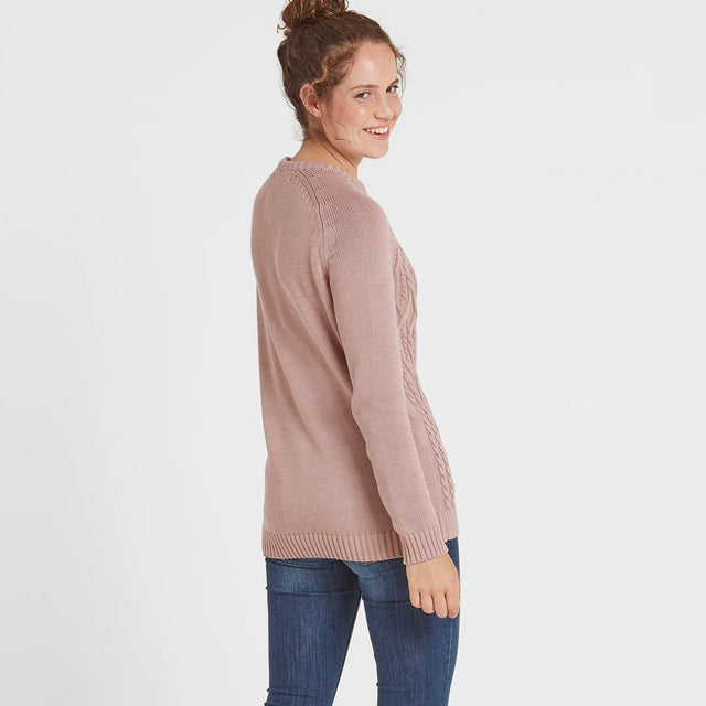 Adele Womens Cable Knit Jumper - Rose Pink image 2
