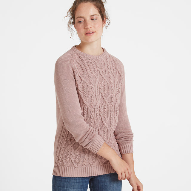 Adele Womens Cable Knit Jumper - Rose Pink image 1