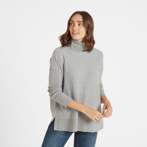 Alana Womens Light Roll Neck Jumper - Light Grey Marl