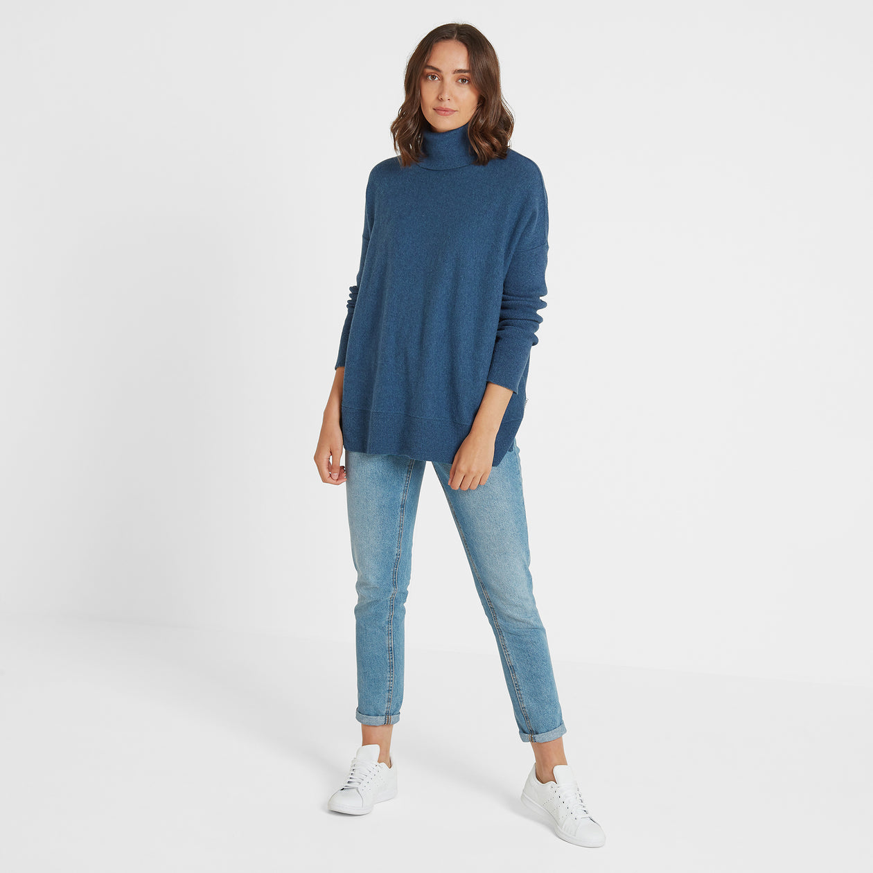 Alana Womens Light Roll Neck Jumper - Atlantic Blue Marl image 4