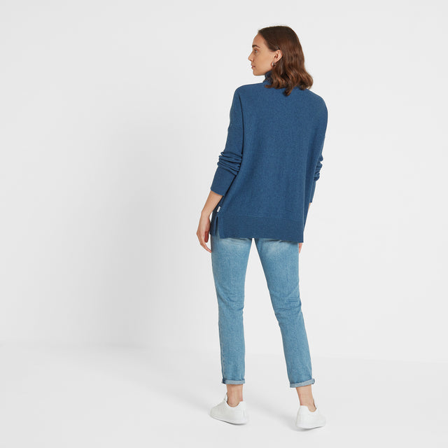 Alana Womens Light Roll Neck Jumper - Atlantic Blue Marl image 2