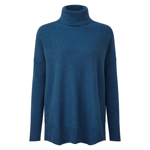 Alana Womens Light Roll Neck Jumper - Atlantic Blue Marl image 3