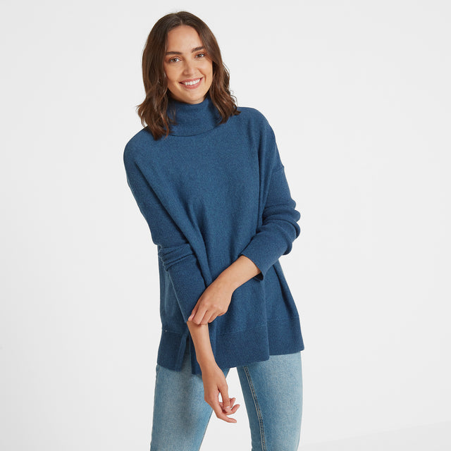 Alana Womens Light Roll Neck Jumper - Atlantic Blue Marl image 1